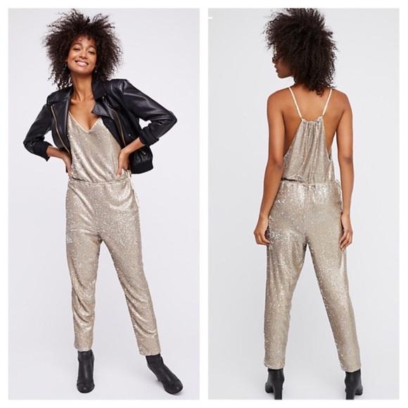575b94c9478 Free People gold sequin jumpsuit